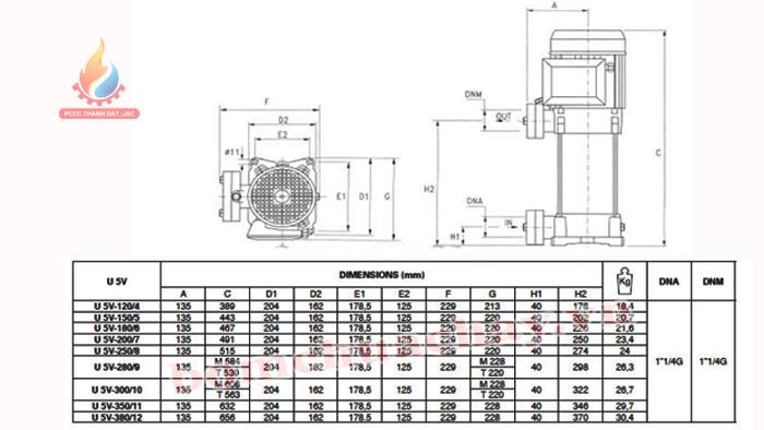 Máy bơm bù áp Pentax U5V-300/10T 3HP