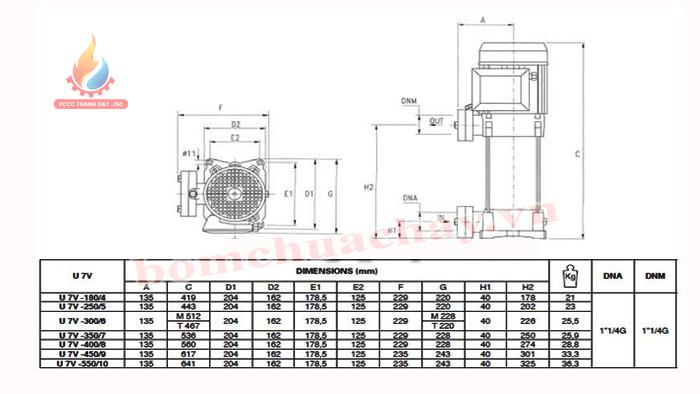 Máy bơm bù áp Pentax U7V-550/10T 5.5HP