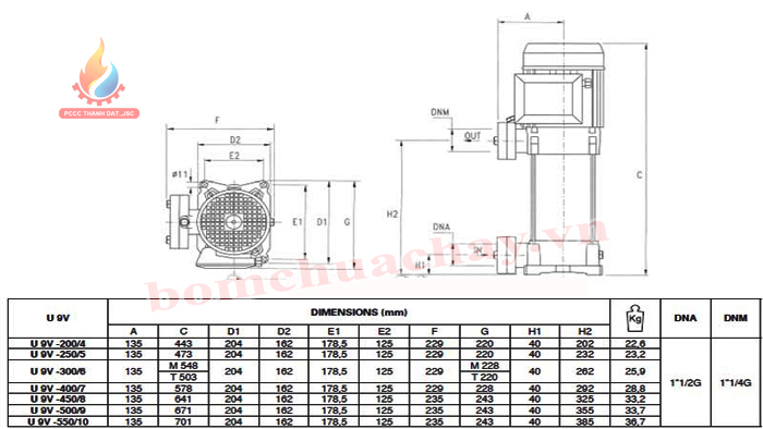 Máy bơm bù áp Pentax U9V-550/10T 5.5HP